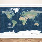 Buy-Framed-Dark Blue-World-Map-Wall-Art-AU