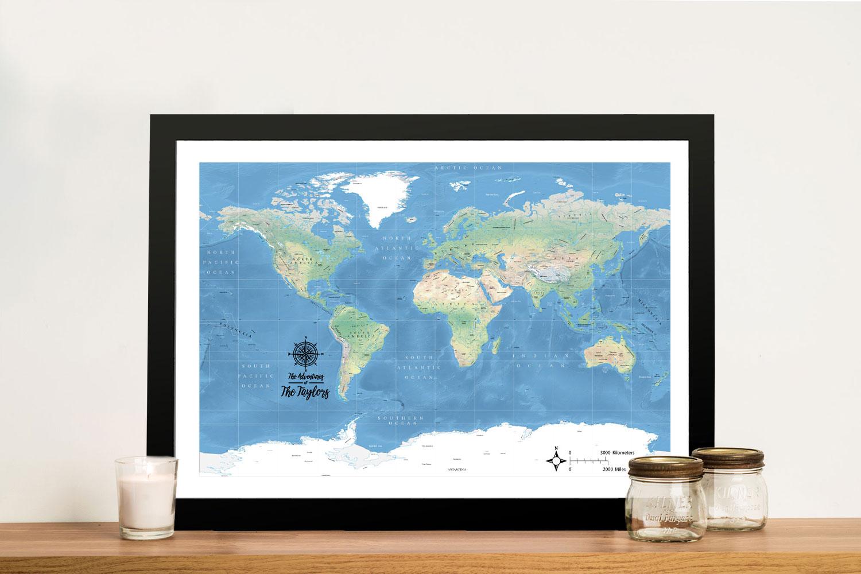 Buy a Miller Physical Classic Custom World Map   Miller Physical World Map