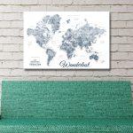 Buy-a-Framed-Blue-&-White-Custom-World-Map