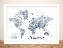 Buy a Blue & White Wanderlust Framed Map