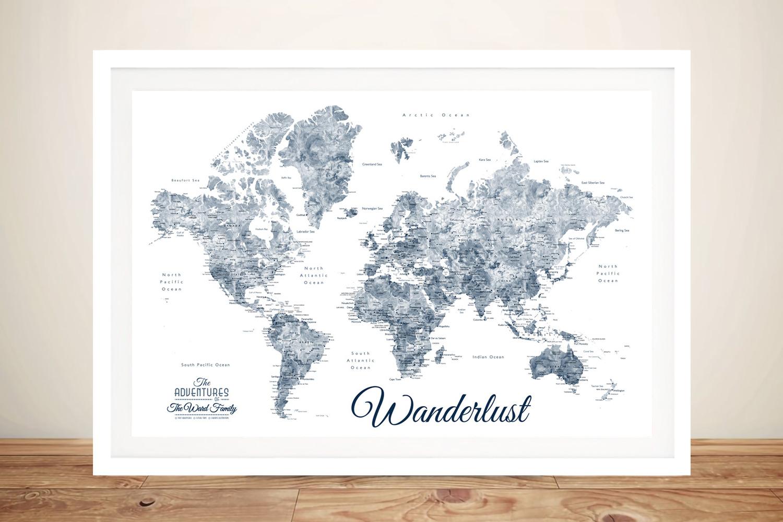 Buy a Blue & White Wanderlust Framed Map | Wanderlust Blue & White World Map