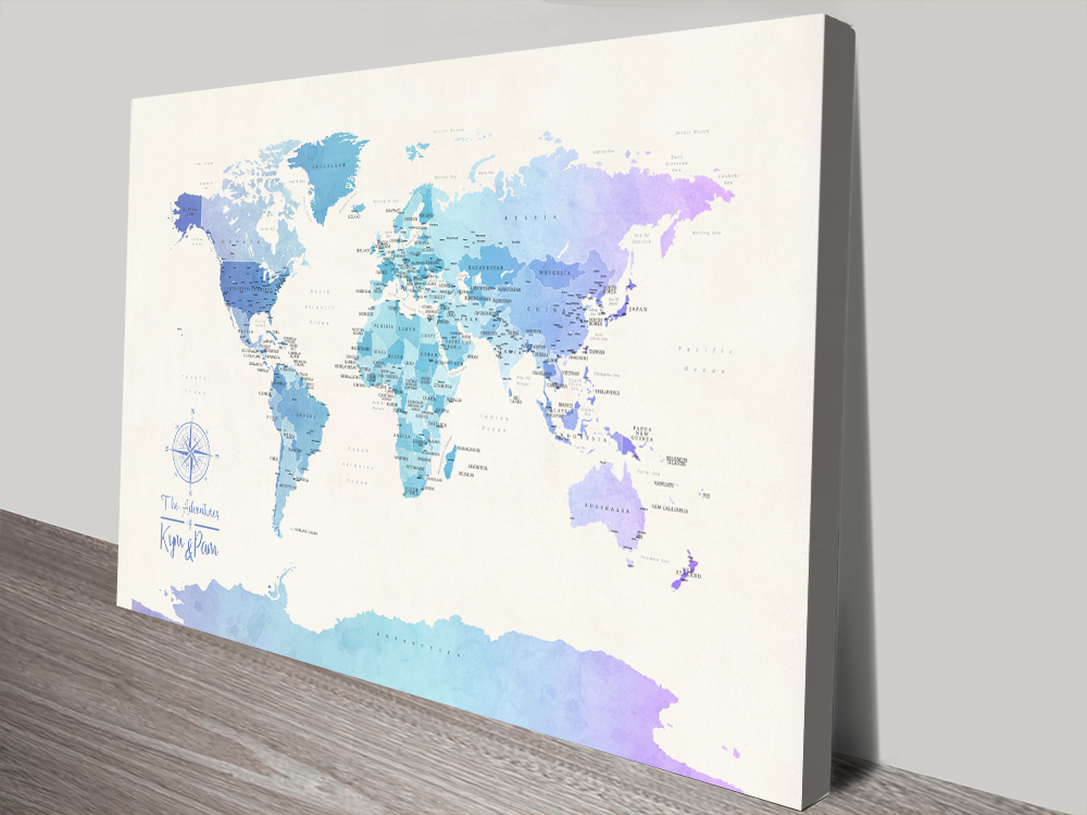 Buy Pushpin Blue Tones World Map Wall Art   Personalised World Map in Watercolours 2
