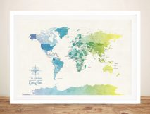 Buy Watercolour Political World Map Wall Art