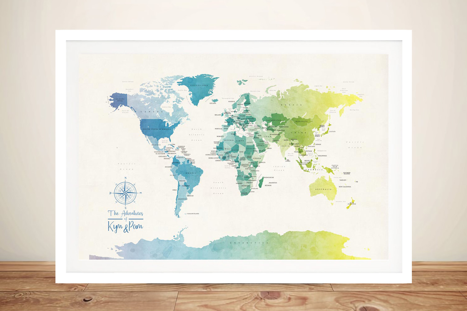 Buy Watercolour Political World Map Wall Art   Personalised World Map in Watercolours 1