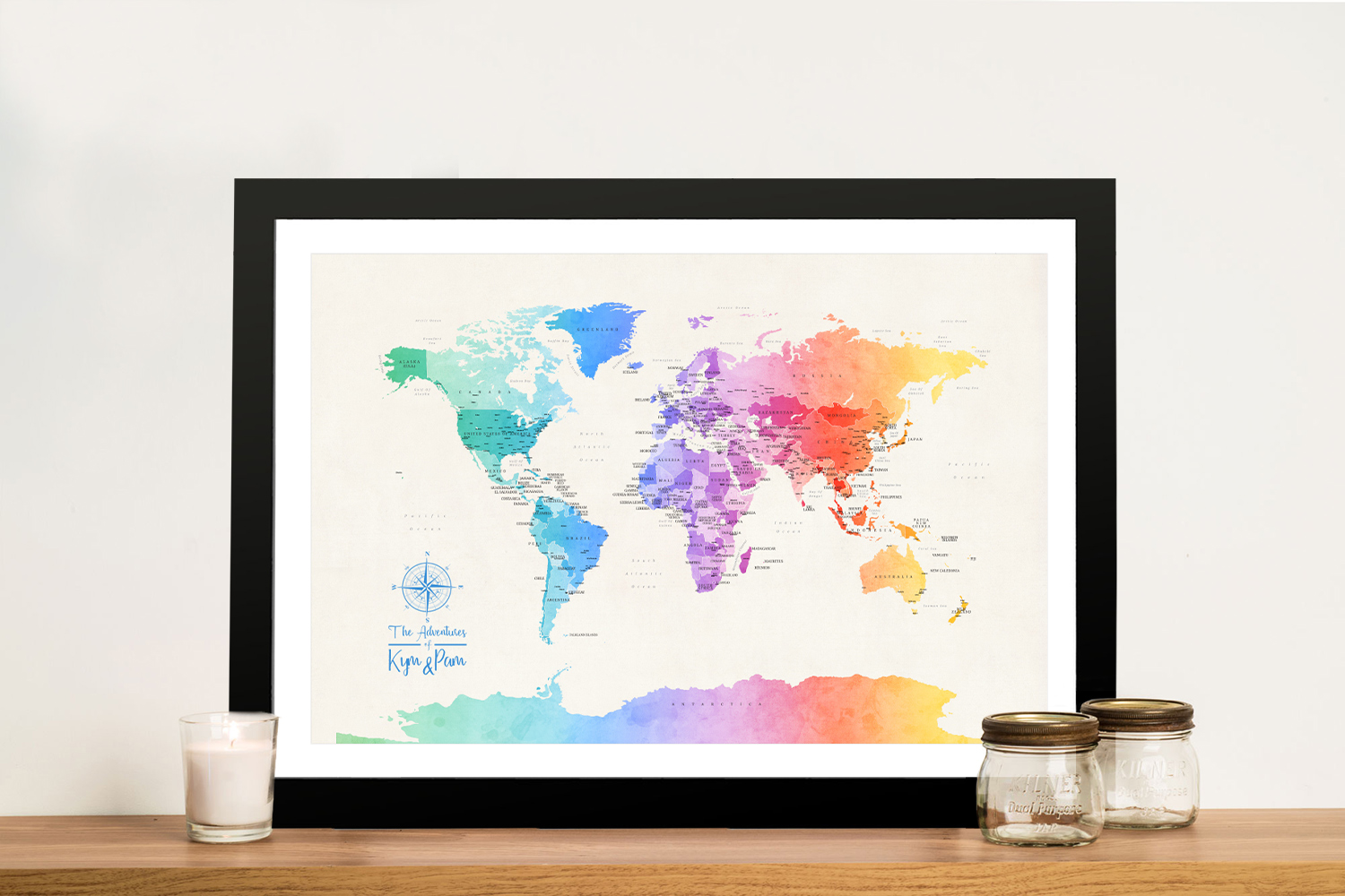 Buy a Political World Map in Colourful Watercolour Tones   Personalised World Map in Watercolours 3