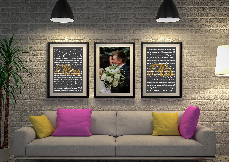 Buy Custom Triptych Wedding Vow Artwork