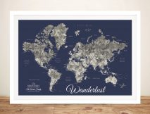 Buy a Custom Navy Blue Detailed World Map