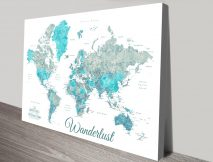Buy Wanderlust Detailed Map Art in Ocean Tones