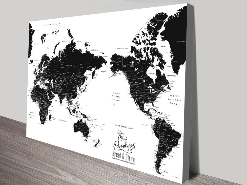 Buy Black & White Pacific Centric Custom Map Art | Australia Centric Black & White Custom Map