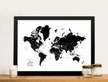 Buy a Custom Pushpin Black & White World Map