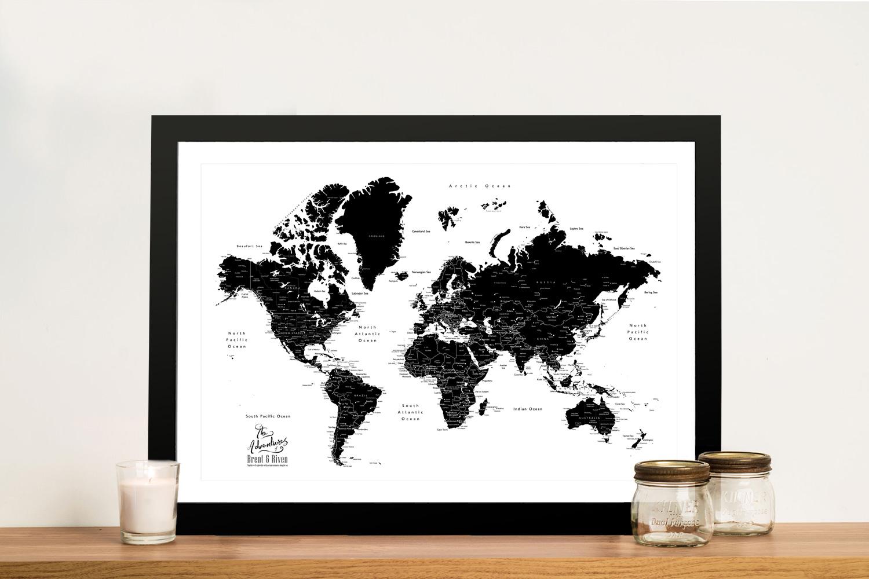 Buy a Custom Pushpin Black & White World Map   Black & White World Map