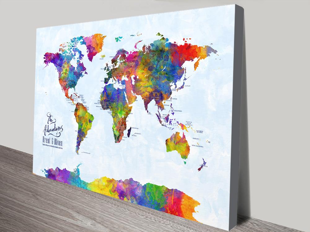 Custom Multicoloured Watercolour Push Pin Map | Custom Multicoloured Watercolour Pushpin Map