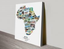 Map of Africa Photo Collage Canvas Art