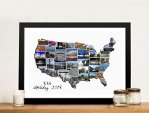 Framed America Map Photo Collage Wall Art