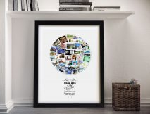 Framed Circular Photo Collage with Words