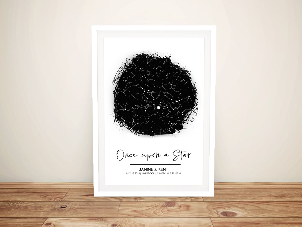 Once Upon a Star Framed Star Map Art | OnceUpon a Star Custom Star Map