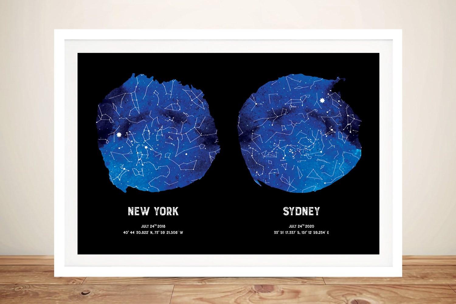 Buy a Blue Dual Personalised Star Map | Blue Dual Star Map