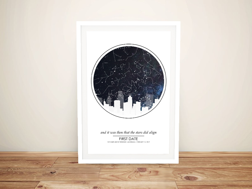 Framed City Skyline Star Map Custom Print   City Silhouette Star MapDesign