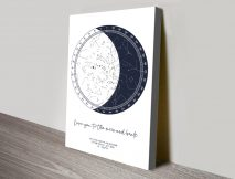Personalised Moon Star Chart Canvas Print