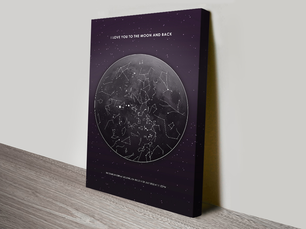 Personalised Moon Star Map Canvas Print | Moon Star Map Design 1