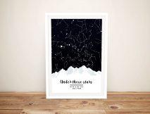 Mountains Custom Star Chart Canvas Art