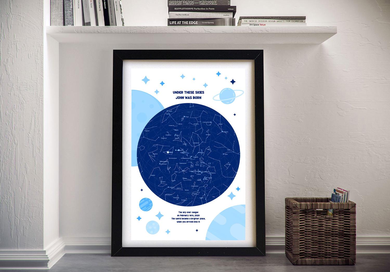 Buy a Framed Custom Newborn Baby Star Map | Newborn Star Map in Blue
