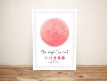 Framed Phases of the Moon Star Chart Print
