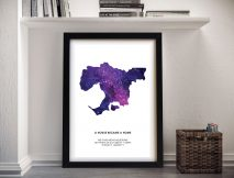 World Cities Silhouettes Star Map Print