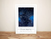 Blue Galaxy Personalised Star Map Canvas Art