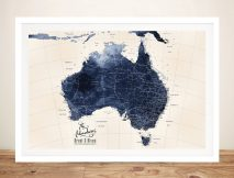 Blue Tones Detailed Australia Map Artwork