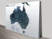Detailed Custom Map of Australia in Dark Tones