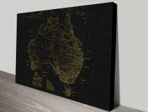 Stretched Canvas Gold & Black Custom Map