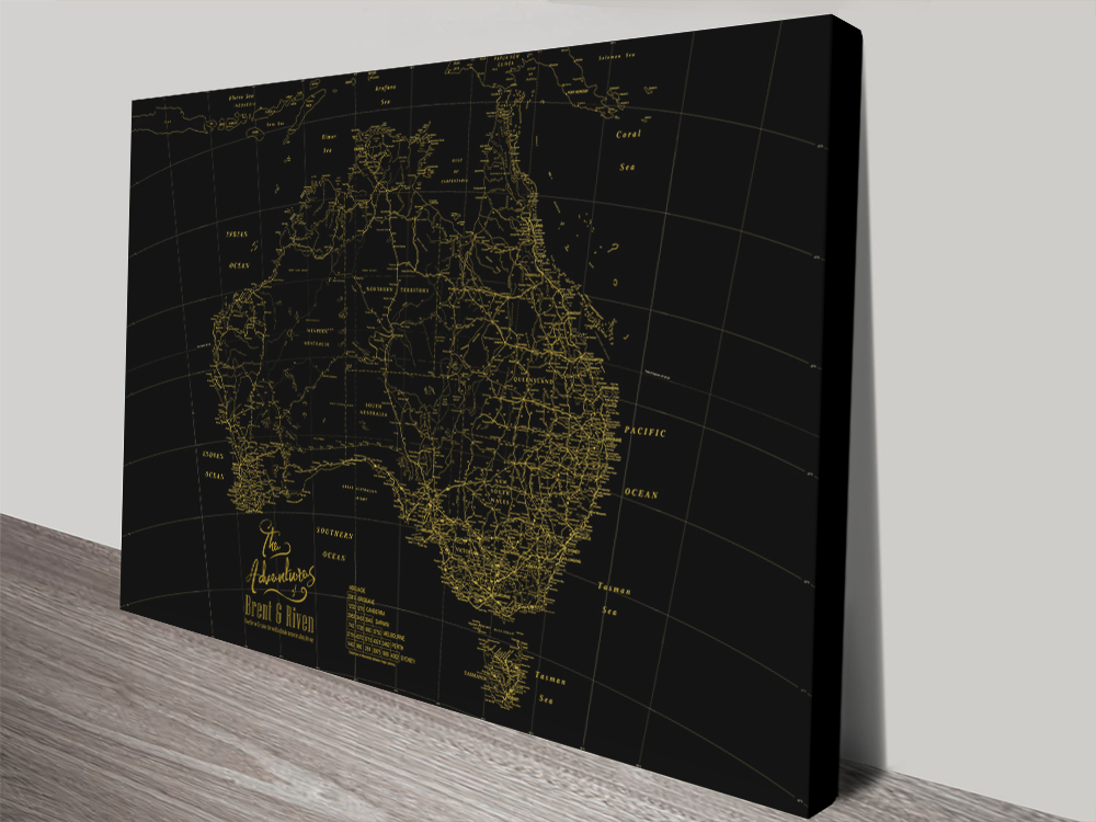 Stretched Canvas Gold & Black Custom Map   Black & Gold Detailed Australia Map