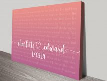 Personalised First Dance Wedding Gift Wall Art