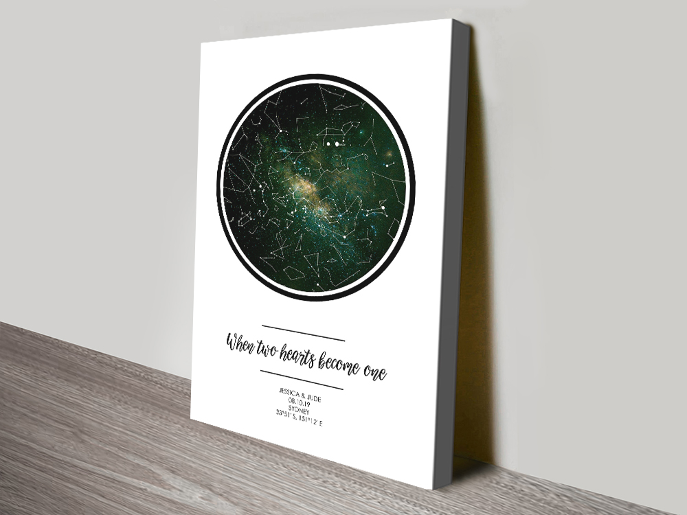 Buy a Two Hearts Bespoke Star Chart | Bespoke Two Hearts Star Map