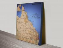 Queensland Detailed Custom Map Wall Art