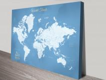 Stunning Blue World Map Custom Art