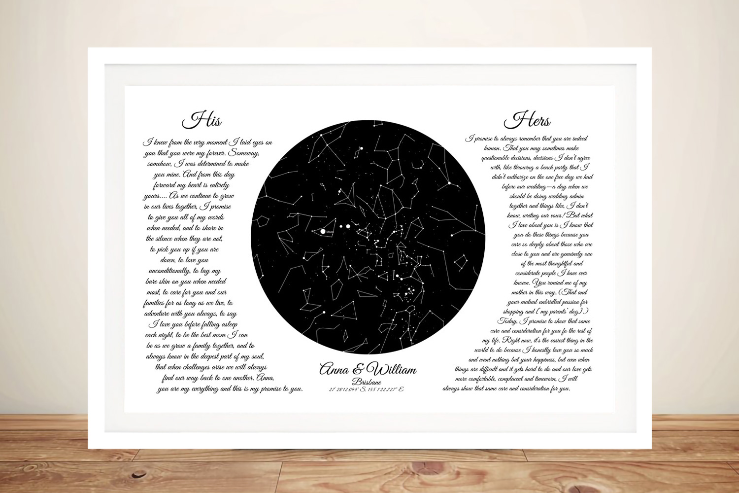 Buy a Framed Wedding Vows Star Chart | Custom Star Map with Wedding Vows